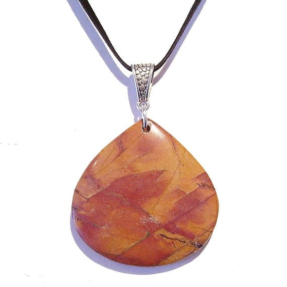 Brown / Red Gemstone Picasso Jasper Tear Drop Pendant