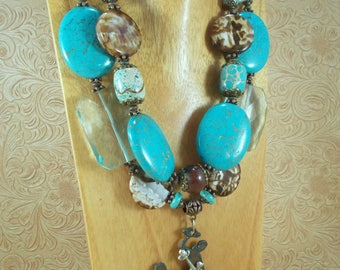 Western Cowgirl Statement Necklace Set - Chunky Turquoise Howlite and Brown Agate - Wyoming Bucking Horse
