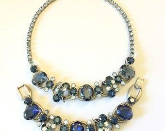 Juliana Jewelry Set, Vintage Jewelry, Chunky Blue Rhinestone Jewelry, Juliana Necklace, 5 Link Juliana Bracelet, Vintage Rhinestone Bracelet
