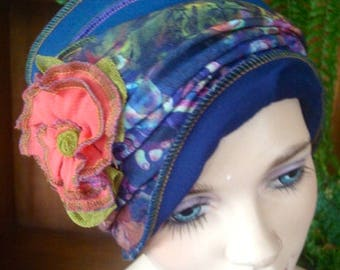 Chemo Hat womens summer hat soft hat Flapper Deco teal navy  with detachable  flower