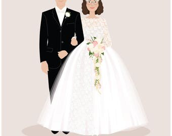 Custom Couple Portrait, custom wedding portrait, personalized anniversary and wedding gift