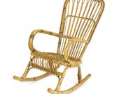 Vintage 1950s Franco Albini Style Rattan Bamboo Rocking Chair