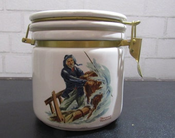 1980s The Seafarers by Norman Rockwell, Braving The Storm, Norman Rockwell Museum, Rockwell Print Jar Canister