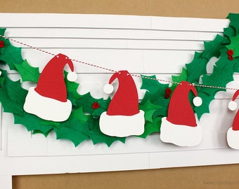 Santa Hat Garland : Handcrafted Christmas Decoration | Elf Party Decoration | Christmas Party Decoration | Holiday Party | Christmas Banner