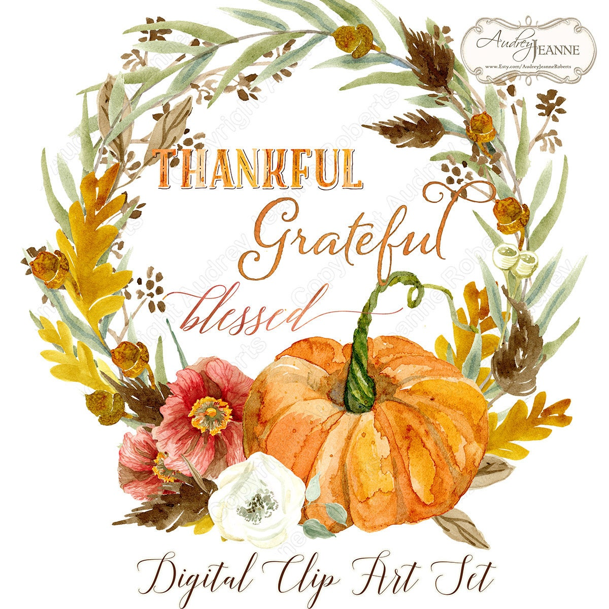 Watercolor Fall Wreath, Digital Clip Art, Pumpkin, Autumn ...