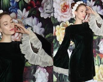Goth Vintage 1960s Goth Mod Green Velvet Sheer Ruffle Butterfly Sleeve Babydoll Mini Dress - 60s Babydoll Dresses - 60s Clothing - WV0387