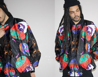Hot Air Ballon 90s Hip Hop Rap Rapper Graphic Fresh Prince Baroque Scarf Bomber Jacket -  90s Bomber Jacket  - 1990s Windbreaker - MV0207