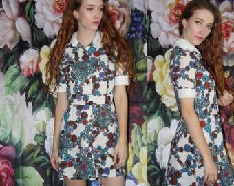 1960s Vintage Hippie Floral Short Shirt Dress  - 60s Clothing - WV0502