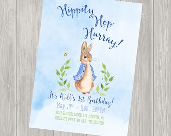 Boy Birthday Invitation, Peter Rabbit Birthday Invitation, Peter Rabbit Birthday Party, Birthday Party Package, Personalized, First birthday