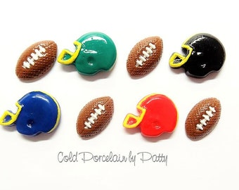 Football & Helmet Set, Bow Center, Clay Charm, Magnet, Planner Charm, Stitch Marker, Cold Porcelain Clay Jewelry, Football Player Gift