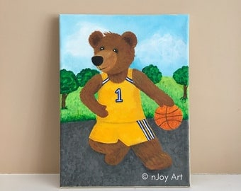 Basketball Playing Bear, 9x12 inch acrylic painting for kids rooms, whimsical sports art