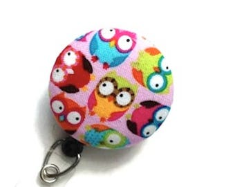 Retractable Badge Holder Badge Reel ID Badge Holder ID Badge Reel Retractable Lanyard Badge Reel Nurse Teachers Gift Owls Pink