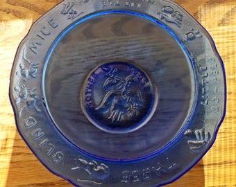 Vintage Tiara Cobalt Mother Goose Bowl