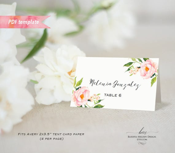 Printable blush pink floral tent place card editable pdf template il570xn m4hsunfo