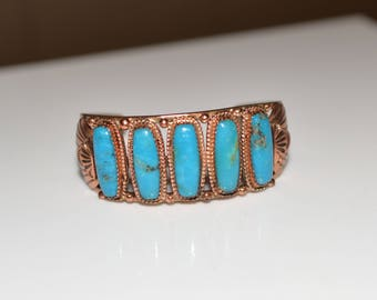 Copper Bracelet Cuff Style with Faux Turquoise inlay Vintage 70s