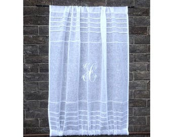 Sheer Linen Window Panel, Kitchen Cupboard Door Curtain, French White Linen Cabinet Curtain, Monogram Window Sidelight Curtain