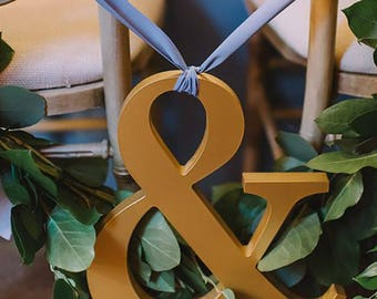 Ampersand Engagement Signs Wooden Letters Ampersand Sign in Wood for Engagement Photo Prop or Wedding Photo Wall Chair Decor (Item - AMP120)