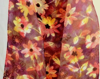 silk chiffon scarf Gold Red Rust Daisy hand painted unique long women wearable art