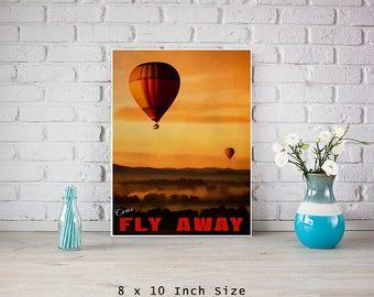 Balloon Art 8x10 Art Print Poster Hot Air Balloon Decor Nursery Wall Art For Childs Room Colorful Wall Art Sunset Sky