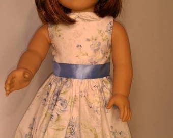 Sleeveless blue floral summer dress fits 18 inch dolls like American girl,