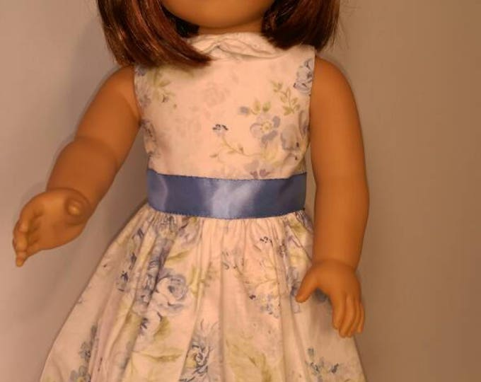 Sleeveless blue floral summer dress fits 18 inch dolls