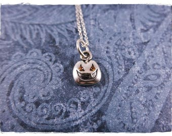 Tiny Jack O' Lantern Necklace - Sterling Silver Jack O'Lantern Charm on a Delicate Sterling Silver Cable Chain or Charm Only
