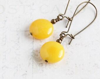 Yellow Stone Earrings, Sunflower Jade Gemstone Earrings on Antiqued Brass, Canary Yellow Earrings, Yellow Dangle Earrings, Beaded Jewelry