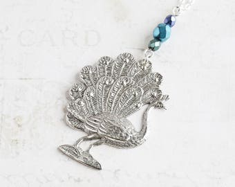 Long Antiqued Silver Plated Peacock Bird Pendant Necklace on Silver Plated Chain