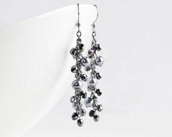 Long Black Beaded Cluster Dangle Earrings on Gunmetal Hooks