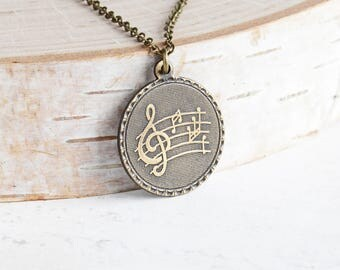 Hand Oxidized Brass Music Note Pendant Necklace on Antiqued Brass Chain