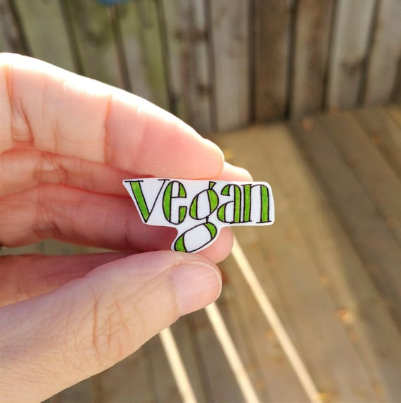 Vegan pin // shrink plastic // clutch back pin