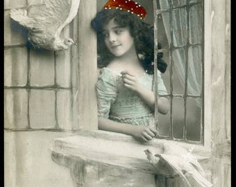 Girl Greeted At Her WINDOW By WHITE DOVES In This Tender Photo Postcard circa 1910