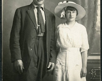 Handsome Man with BIG TOP HAT and Pretty Girlfriend Photo Postcard circa 1910