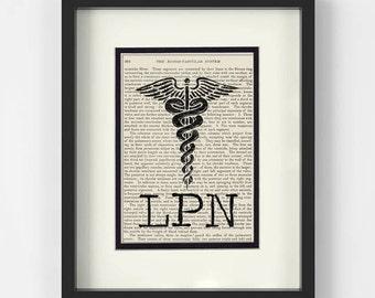 LPN Gift, LPN Graduation Gift - LPN over Vintage Medical Book Page - Graduation Gift, Nurse Pin Ceremony Gift