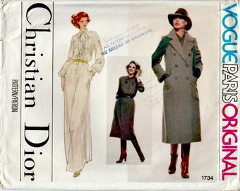 1970's Christian Dior Vogue Paris Original Dress and Coat Pattern  VOGUE 1734  Out of Print Pattern UNCUT, Factory Folded  Size 12  Bust 34