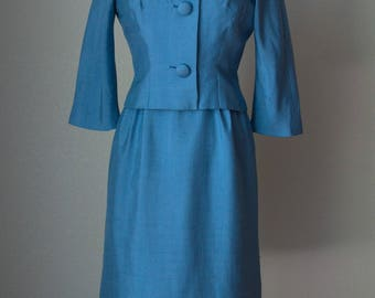 1950s Silk Dress Suit with Ribbon Design / Hourglass Dress and Fitted Jacket / Imported Italian Silk / Parnes Feinstein Label / Small Medium