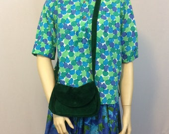 Vintage Dark Green Suede Shoulder Handbag //  Hippie Festival Purse // Cross Body Strap Suede Purse