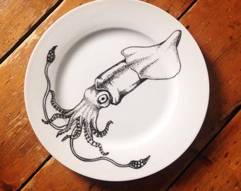 Squid hand painted plate