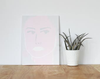 """pink wall art acrylic painting, """"huma abedin"""" - are you my bestie, flat 6x8 canvas, gift for friend, portrait, wall art, hillary clinton"""