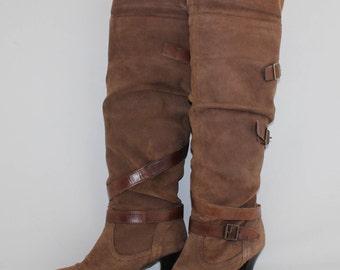 Vintage Brown 100% Real Leather Suede Pull On Knee Mid Heel Ladies Women's Boots Size UK 3 EUR 36