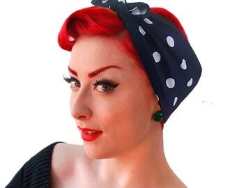 Navy Polka Dot Bandana - Navy and White Polka Dot headscarf - Retro Head Scarf - Rockabilly Headband - Rockabilly costume