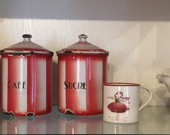 French Country Antique Graniteware Enamelware Canisters Orange Red White Stripe Romantic Farmhouse Cottage