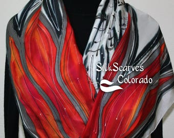 Red Silk Scarf. Hand Painted Silk Scarf. Black White Silk Scarf CRIMSON WINDS. Size 11x60. Birthday Gift, Bridesmaid Gift. Gift Wrapped.