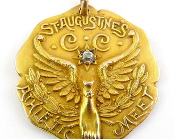 Large 1909 St. Augustine's Boston Athletic Meet G.F. Medal with Sapphire by Dieges & Clust