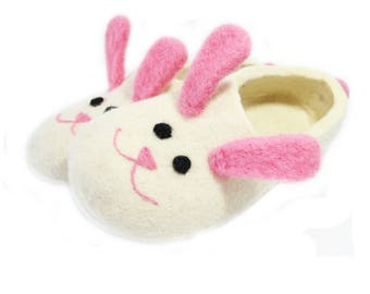 White Bunny slippers Women Animal Slippers felted slippers Boiled wool womens slippers Pink Bunny slippers felted clogs Cute Gifts For Her