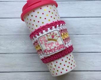 Princess cup cozy, pink cozy, coffee cup cozy, coffee cozy, crochet cup cozy, coffee cup sleeve, summer cup cozy, beach cup holder, cup cozy