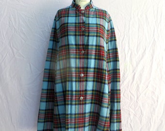 Vintage Tartan Wool Cape/Anderson Clan Tartan Wool Cape/Clan Laird/Light Blue Red and Black Plaid Wool Cape
