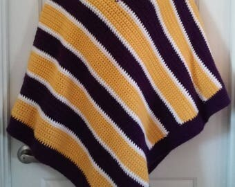 Purple, Gold and White Crochet Poncho  - Great for Minnesota Vikings NFL Football Fans