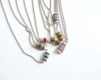 New Ball Chain Stainless Steel Tribal Print Charm Necklace // 7 color options