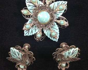 Vintage Faux Turquoise Leaf Silver Tone Brooch and Earring Set, Screw Back Earrings, Vintage Costume Jewelry